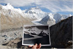 Photo: David Breashears The eroding Rongbuk glacier in the Himalayas, in 1921 and today.