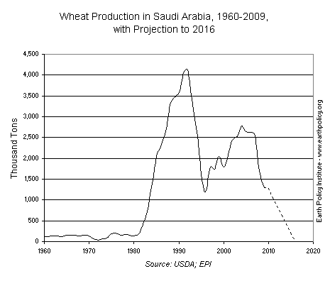 Wheat Production in Saudi Arabia, 1960-2009, with Projection to 2016