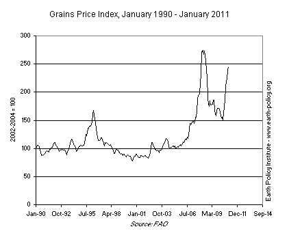Grains Price Index, January 1990 - January 2011