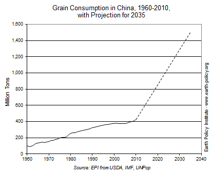 Graph on Grain Consumption in China, 1960-2010, with Projections for 2035