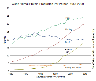 Graph on World Animal Protein Production Per Person, 1961-2009