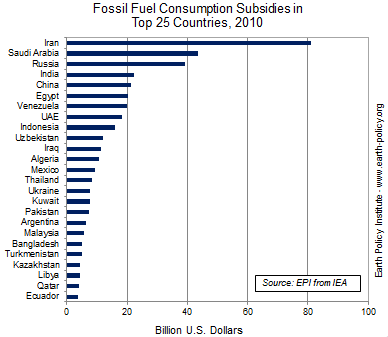 Graph on Fossil Fuel Consumption Subsidies in Top 25 Countries, 2010