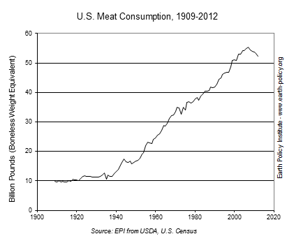 Graph on U.S. Meat Consumption, 1909-2012