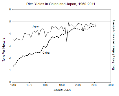 Rice Yields in China and Japan, 1960-2011