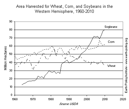 Area Harvested for Wheat, Corn, and Soybeans in the Western Hemisphere, 1960-2010