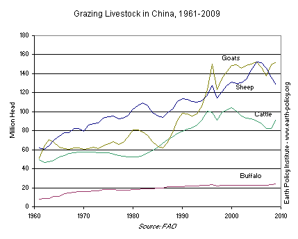 Graph on Grazing Livestock in China, 1961-2009