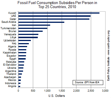 Graph on Fossil Fuel Consumption Subsidies Per Person in Top 25 Countries, 2010