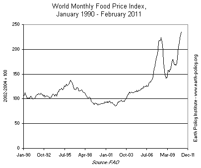 Graph on World Monthly Food Price Index, January 1990-February 2011
